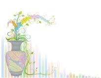 Λουλούδια στο βάζο με το αρχαίο σχέδιο Στοκ φωτογραφία με δικαίωμα ελεύθερης χρήσης