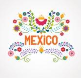 Λουλούδια, σχέδιο και στοιχεία του Μεξικού απεικόνιση αποθεμάτων