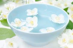 Λουλούδια της Jasmine σε ένα μπλε κύπελλο για τη aromatherapy κινηματογράφηση σε πρώτο πλάνο Στοκ φωτογραφία με δικαίωμα ελεύθερης χρήσης