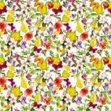 Λουλούδια φθινοπώρου, πεταλούδες Ditsy που επαναλαμβάνει το floral σχέδιο watercolor Στοκ Φωτογραφία