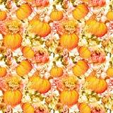 Λουλούδια, φύλλα, χλόη floral πρότυπο άνευ ραφής watercolor Στοκ φωτογραφία με δικαίωμα ελεύθερης χρήσης