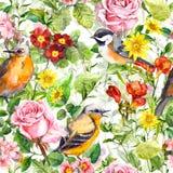 Λουλούδια, χλόη λιβαδιών, πουλιά floral άνευ ραφής ταπετσαρία Στοκ Εικόνα