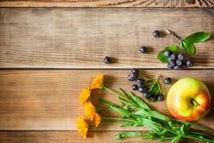 Λουλούδια Calendula, μούρα aronia & x28 μαύρο chokeberry& x29  και μήλο στο ξύλινο υπόβαθρο στο αγροτικό ύφος Στοκ Εικόνες