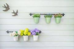Λουλούδια flowerpot στον ξύλινο τοίχο στοκ εικόνες