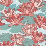 Λουλούδια Lotus στο άνευ ραφής σχέδιο Στοκ Εικόνες