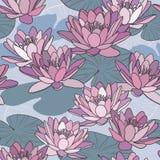 Λουλούδια Lotus στο άνευ ραφής σχέδιο Στοκ φωτογραφία με δικαίωμα ελεύθερης χρήσης