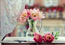 Λουλούδια Peony κρητιδογραφιών Στοκ Εικόνα