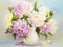 Λουλούδια Peony σε ένα άσπρο βάζο απεικόνιση αποθεμάτων
