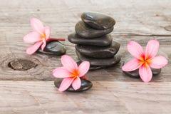 Λουλούδια Plumeria και μαύρες πέτρες στο ξεπερασμένο ξύλο Στοκ φωτογραφία με δικαίωμα ελεύθερης χρήσης