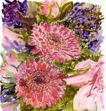 Λουλούδια Watercolour Στοκ φωτογραφία με δικαίωμα ελεύθερης χρήσης