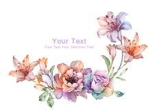 Λουλούδι απεικόνισης Watercolor στο απλό υπόβαθρο Στοκ Εικόνες