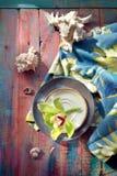 Λουλούδι και θαλασσινά κοχύλια ορχιδεών, στο λαμπρά χρωματισμένο ξύλινο backgrou Στοκ φωτογραφία με δικαίωμα ελεύθερης χρήσης