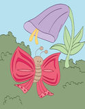 Λουλούδι και πεταλούδα σαλπίγγων Στοκ Εικόνες