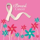 Λουλούδι κορδελλών καρκίνου του μαστού και ρόδινο υπόβαθρο διανυσματική απεικόνιση
