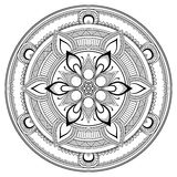 Λουλούδι μαύρο Mandala Ασιατικό σχέδιο, διανυσματική απεικόνιση Ισλάμ, αραβικά, ινδικά οθωμανικά μοτίβα Χρωματίζοντας σελίδα βιβλ Στοκ εικόνα με δικαίωμα ελεύθερης χρήσης