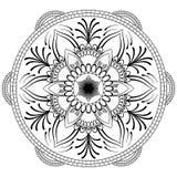 Λουλούδι μαύρο Mandala Ασιατικό σχέδιο, διανυσματική απεικόνιση Ισλάμ, αραβικά, ινδικά οθωμανικά μοτίβα Χρωματίζοντας σελίδα βιβλ Στοκ φωτογραφία με δικαίωμα ελεύθερης χρήσης