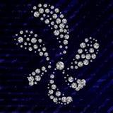 Λουλούδι με τα διαμάντια Rhinestones στην μπλε σύσταση Στοκ Φωτογραφίες