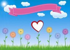 Λουλούδι με την καρδιά, τον ουρανό και την κορδέλλα Στοκ Εικόνες