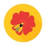 Λουλούδι με το εικονίδιο κύκλων μελισσών μελιού Στοκ εικόνα με δικαίωμα ελεύθερης χρήσης