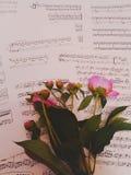 Λουλούδι στις σημειώσεις στοκ εικόνα με δικαίωμα ελεύθερης χρήσης