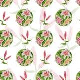 Λουλούδι σχεδίων με τους κρίνους Στοκ εικόνες με δικαίωμα ελεύθερης χρήσης