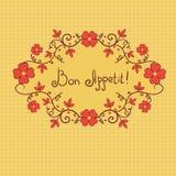 Λουλούδι σύντομων χρονογραφημάτων, bon όρεξη, διανυσματικό υπόβαθρο Στοκ Εικόνα