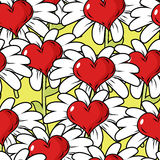 Λουλούδι του άνευ ραφής σχεδίου αγάπης Λιβάδι λουλουδιών Στοκ Εικόνες