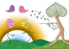 Λουλούδι τουλιπών και μαργαριτών που χορεύει σε μια μουσική φλαούτων δέντρων Στοκ Φωτογραφίες