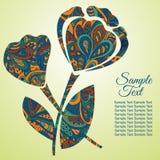 Λουλούδι Doodle Παπαρούνα Σχέδιο Zentangl πρόσθετες διακοπές μορφής καρτών Στοκ Εικόνες