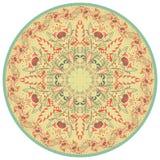 Λουλούδι Mandala Εκλεκτής ποιότητας διακοσμητικό στοιχείο Ασιατικό και κινεζικό μοτίβο Αναδρομικά χρώματα απεικόνιση αποθεμάτων