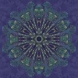Λουλούδι Mandala με το μπλε υπόβαθρο floral διακοσμητικός κύκλος προτύπων Στοκ Φωτογραφία