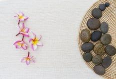 Λουλούδι Plumeria και όμορφη πέτρα στο δίσκο ινδικού καλάμου Στοκ Εικόνες