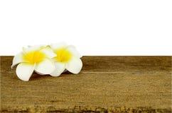 Λουλούδι Plumeria στον παλαιό ξύλινο πίνακα Στοκ Εικόνες
