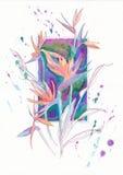 Λουλούδι Strelitzia στο υπόβαθρο του πλαισίου Στοκ Φωτογραφία