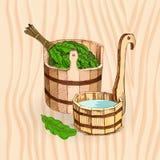 Λούζοντας αγαθά Ένα ξύλινο βαρέλι και μια δρύινη σκούπα για μια σάουνα Ένα πρότυπο για τη λούζοντας επιχείρηση τοποθετήστε το κεί απεικόνιση αποθεμάτων