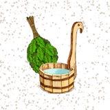 Λούζοντας αγαθά Ένα ξύλινο βαρέλι και μια δρύινη σκούπα για μια σάουνα Ένα πρότυπο για τη λούζοντας επιχείρηση τοποθετήστε το κεί ελεύθερη απεικόνιση δικαιώματος