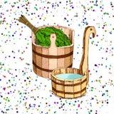 Λούζοντας αγαθά Ένα ξύλινο βαρέλι και μια δρύινη σκούπα για μια σάουνα Ένα πρότυπο για τη λούζοντας επιχείρηση τοποθετήστε το κεί διανυσματική απεικόνιση