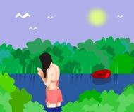 Λούζοντας κορίτσι απεικόνιση αποθεμάτων