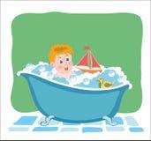 Λούζοντας μωρό στη σκάφη με τα παιχνίδια Διανυσματική γραφική εικόνα ελεύθερη απεικόνιση δικαιώματος