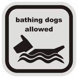 Λούζοντας τα σκυλιά που επιτρέπονται, το διανυσματικό εικονίδιο στο μαύρο και γκρίζο πλαίσιο, ελεύθερη απεικόνιση δικαιώματος