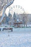 Λούνα παρκ στο χιόνι το χειμώνα Στοκ Φωτογραφία