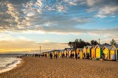 Λούσιμο των κιβωτίων στην παραλία του Μπράιτον, Μελβούρνη Στοκ Φωτογραφία
