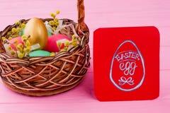 λυγαριά αυγών Πάσχας καλαθιών Στοκ Εικόνες