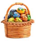 λυγαριά αυγών Πάσχας καλαθιών Στοκ Φωτογραφία