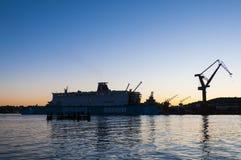 Λυκόφως Γκέτεμπουργκ ναυπηγείων Στοκ εικόνα με δικαίωμα ελεύθερης χρήσης