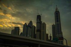 Λυκόφως στη μαρίνα του Ντουμπάι Στοκ Εικόνες