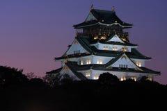 λυκόφως της Ιαπωνίας Οζάκα κάστρων Στοκ Φωτογραφία