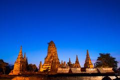 Λυκόφως Ayutthaya Chaiwatthanaram Wat Στοκ φωτογραφίες με δικαίωμα ελεύθερης χρήσης