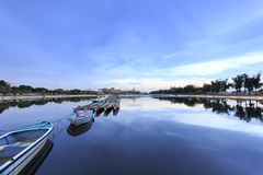 Λυκόφως Longzhouchi (λίμνη βαρκών δράκων), κωμόπολη jimei, amoy πόλη, Κίνα Στοκ Φωτογραφία
