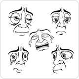 Λυπημένες εκφράσεις του προσώπου - διανυσματικό σύνολο. Στοκ Εικόνες